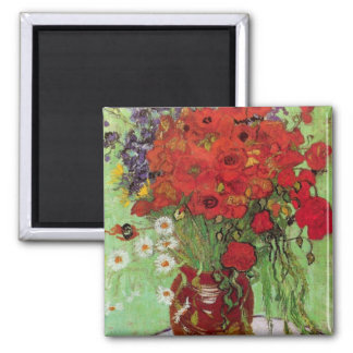 Still Life Red Poppies and Daisies by van Gogh Refrigerator Magnet