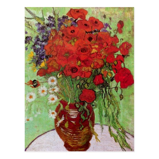 Still Life Red Poppies and Daisies by Van Gogh Postcard