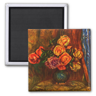 Still life roses before a blue curtain by Renoir 2 Inch Square Magnet