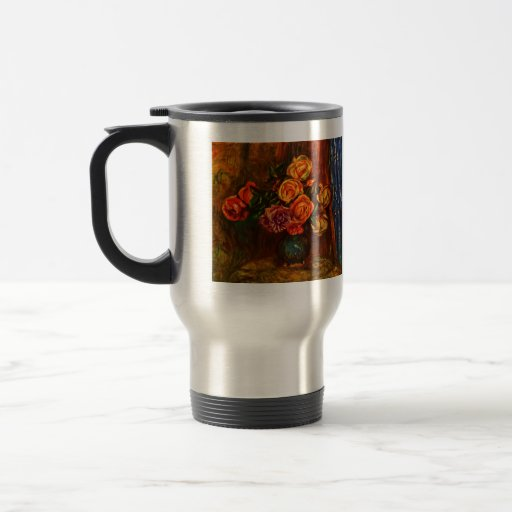 Still life roses before a blue curtain by Renoir 15 Oz Stainless Steel Travel Mug