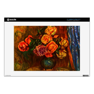 Still life roses before a blue curtain by Renoir Skin For Laptop