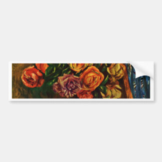 Still Life Roses In Front Of Blue Curtains Bumper Stickers