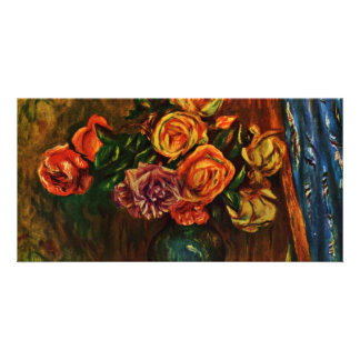 Still Life Roses In Front Of Blue Curtains Personalized Photo Card