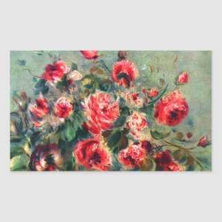 Still life roses of Vargemont by Claude Monet Rectangular Sticker