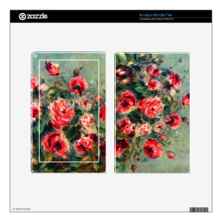 Still life roses of Vargemont by Pierre Renoir Decals For Kindle Fire