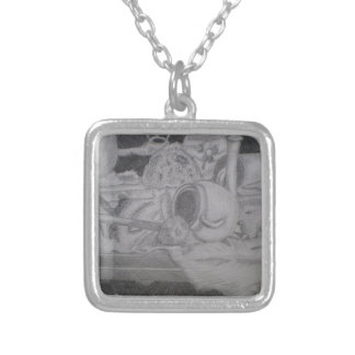 Still life square pendant necklace