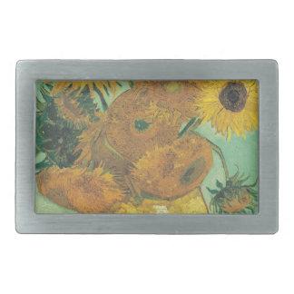 Still Life: Sunflowers - Vincent van Gogh Rectangular Belt Buckle