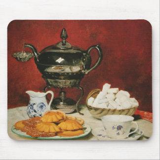 Still life Tea and Melting rolls - Albert Anker Mouse Pad