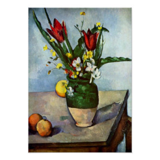 Still Life, Tulips and Apples by Paul Cezanne Print