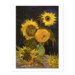 Still Life:Vase, Five Sunflowers, Vincent van Gogh Postcard