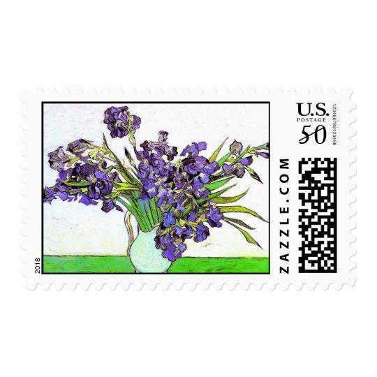 Still Life Vase Violet Irises Van Gogh Fine Art Postage