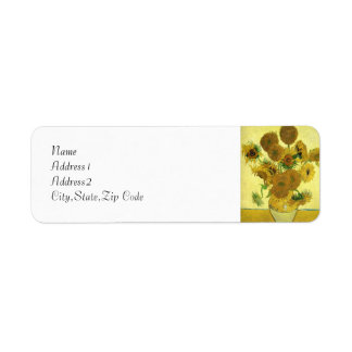 Still Life - Vase with 15 Sunflowers by van Gogh Custom Return Address Labels