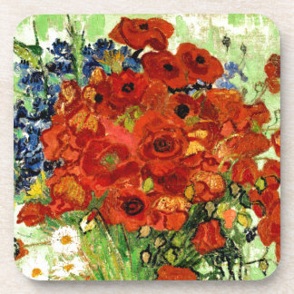 Still Life, Vase with Daisies and Poppies (1890) Coaster