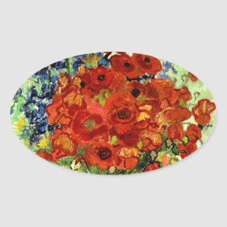 Still Life, Vase with Daisies and Poppies (1890) Oval Sticker