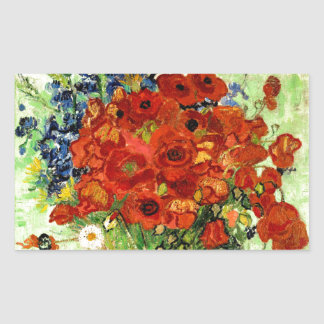 Still Life, Vase with Daisies and Poppies (1890) Rectangular Sticker