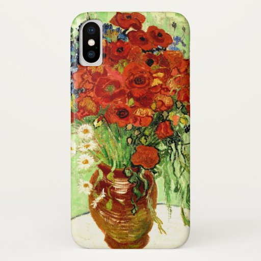Still Life, Vase with Daisies and Poppies Van Gogh iPhone X Case