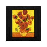 Still Life Vase with Fifteen Sunflowers -Van Gogh Jewelry Box