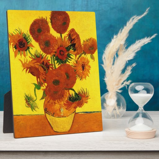 Still Life Vase with Fifteen Sunflowers -Van Gogh Plaque