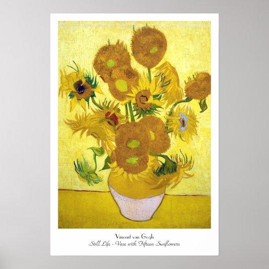 Still Life - Vase with Fifteen Sunflowers van gogh Poster