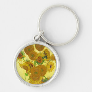 Still Life - Vase with Fifteen Sunflowers van gogh Silver-Colored Round Keychain