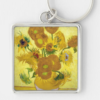 Still Life - Vase with Fifteen Sunflowers van gogh Silver-Colored Square Keychain