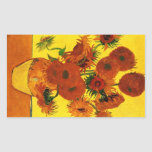 Still Life Vase with Fifteen Sunflowers -Van Gogh Rectangle Stickers