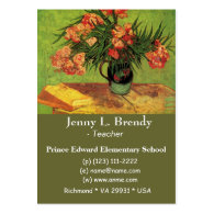 Still Life Vase with Oleanders and Books, Van Gogh Business Card Templates