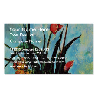 Still Life Vase With Tulips By Paul Cézanne Business Card