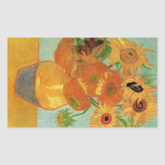 Still Life Vase with Twelve Sunflowers by Van Gogh Rectangular Sticker