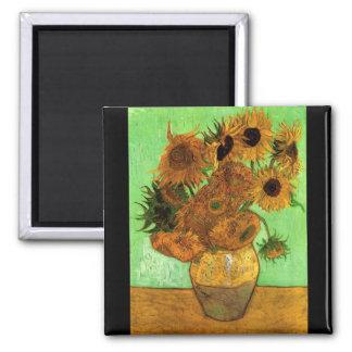 Still Life Vase with Twelve Sunflowers - Van Gogh 2 Inch Square Magnet