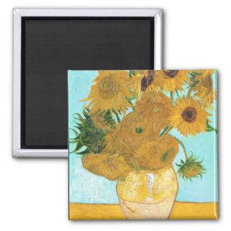 Still Life - Vase with Twelve Sunflowers van Gogh 2 Inch Square Magnet