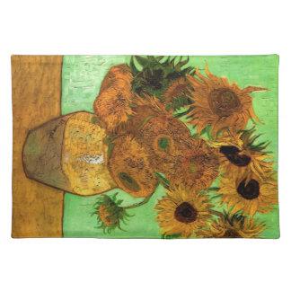 Still Life Vase with Twelve Sunflowers - Van Gogh Cloth Place Mat