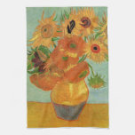 still life - vase with twelve sunflowers, van Gogh Kitchen Towel