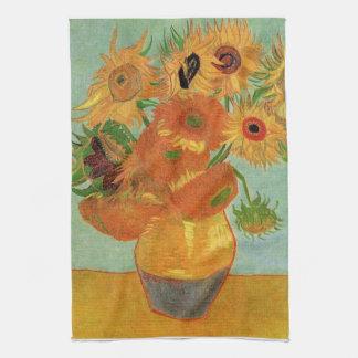 still life - vase with twelve sunflowers, van Gogh Kitchen Towels