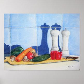 still life vegetables original realist art poster