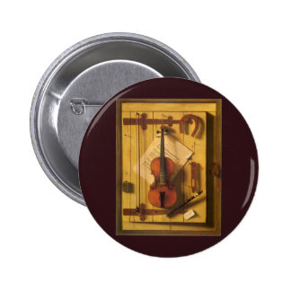 Still Life Violin and Music by Harnett 2 Inch Round Button