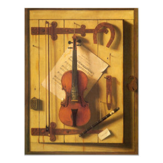 Still Life Violin and Music by Harnett Card