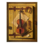 Still Life Violin and Music by Harnett Poster