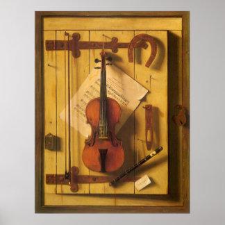 Still Life Violin and Music by Harnett Poster
