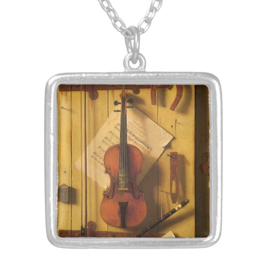 Still Life Violin and Music by Harnett Silver Plated Necklace
