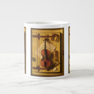 Still Life Violin and Music by William Harnett Giant Coffee Mug