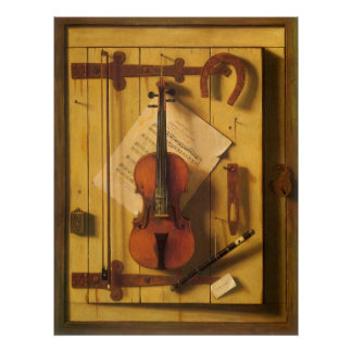 Still Life Violin and Music by William Harnett Poster