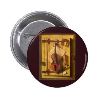 Still Life Violin Music Harnett, Vintage Victorian Pinback Button