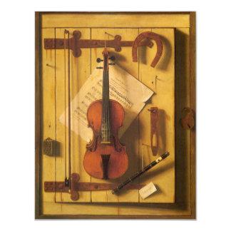Still Life Violin Music Harnett, Vintage Victorian 4.25x5.5 Paper Invitation Card