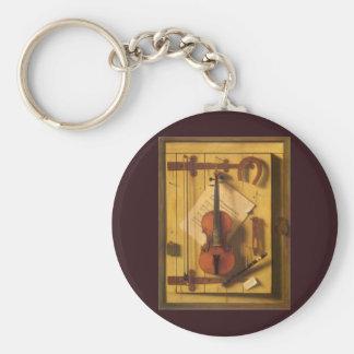 Still Life Violin Music Harnett, Vintage Victorian Keychains