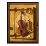 Still Life Violin Music Harnett, Vintage Victorian Postcard