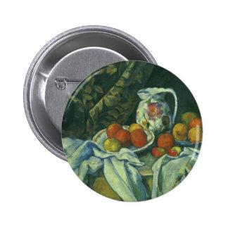 Still Life w Curtain Flowered Pitcher by Cezanne 2 Inch Round Button