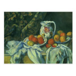 Still Life w Curtain Flowered Pitcher by Cezanne Postcard