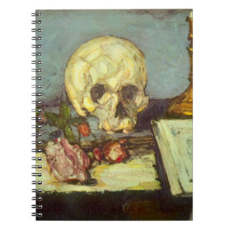 Still Life w Skull, Candle, Book By Paul Cezanne