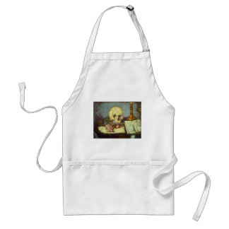 Still Life w Skull, Candle, Book By Paul Cezanne Adult Apron